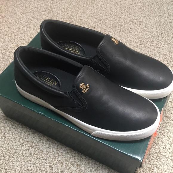ef4d1ade4c Ralph Lauren RIA Super Soft Leather Black Sneakers NWT